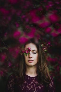 girl spring pink blossom iga koczorowska